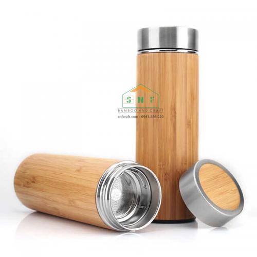 Bình giữ nhiệt vỏ tre tự nhiên, ruột inox chất lượng cao