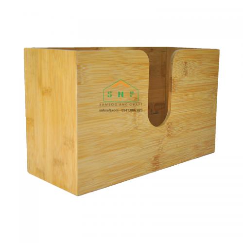 Hộp khăn giấy treo tường bằng gỗ tre dành cho gia đình, nhà hàng, khách sạn
