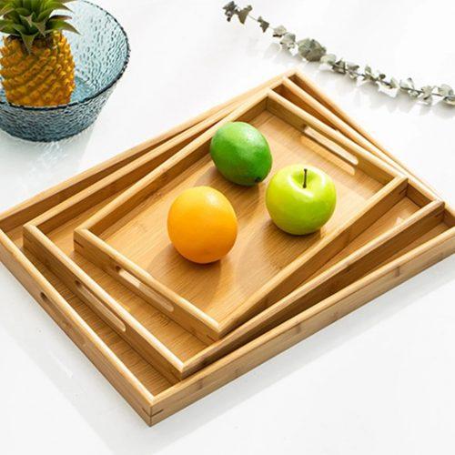 Khay gỗ tre đựng thức ăn, đựng trà hình chữ nhật 2 quai cầm bằng