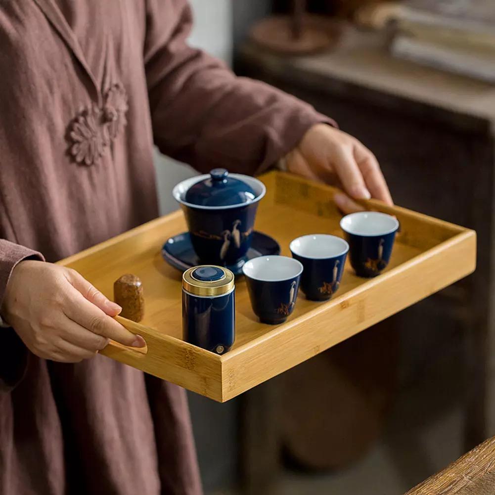 Khay gỗ tre trà đạo